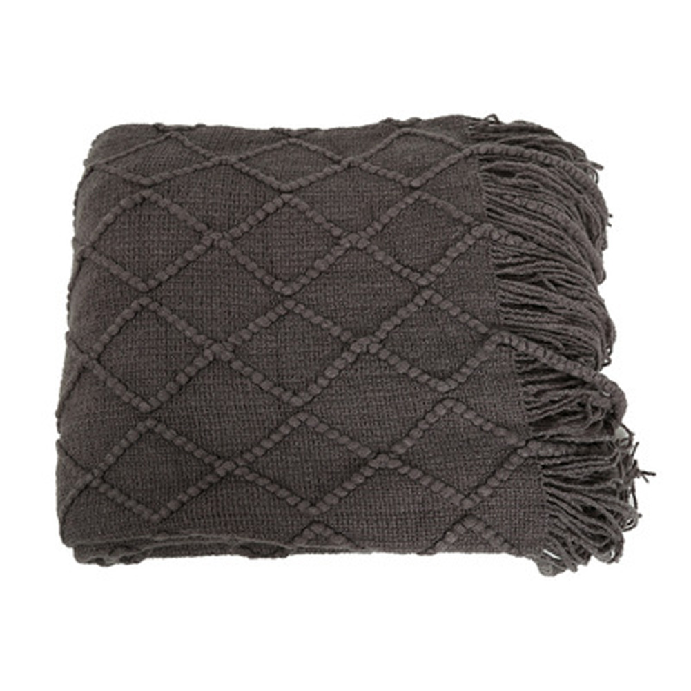 Knitted Tassel Blankets for Beds Sofa Photo Props Office Sleeping Air Conditioning Blanket dark gray_130*170 520g