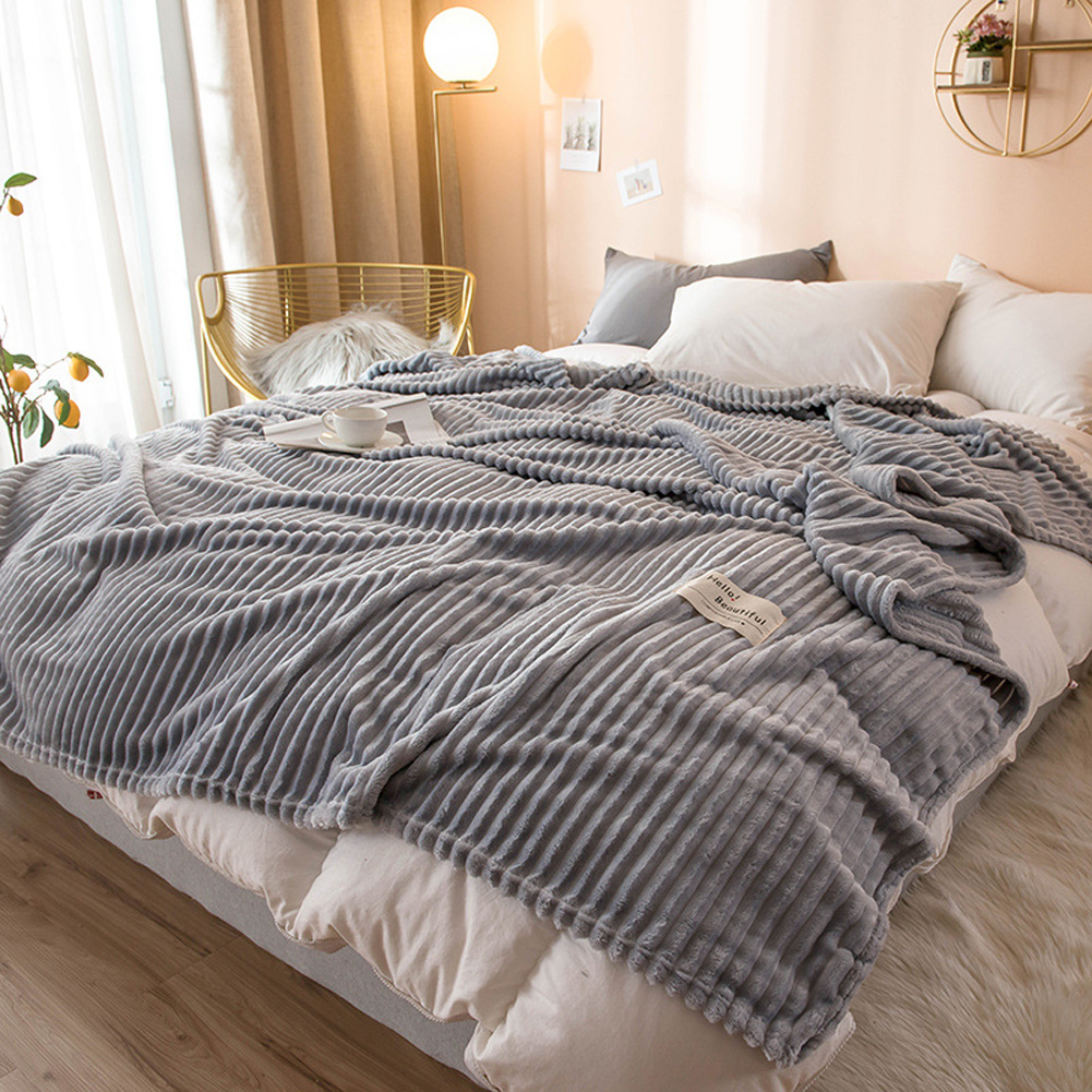 Soft Stripes Flannel Blanket Casual Sleeping Blanket for Air Conditioned Room 150x200cm gray
