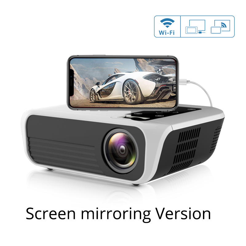 T500 Mini Projector 1080P High Definition LED Home Digital Projector Portable for Mobile Phone white_UK Plug