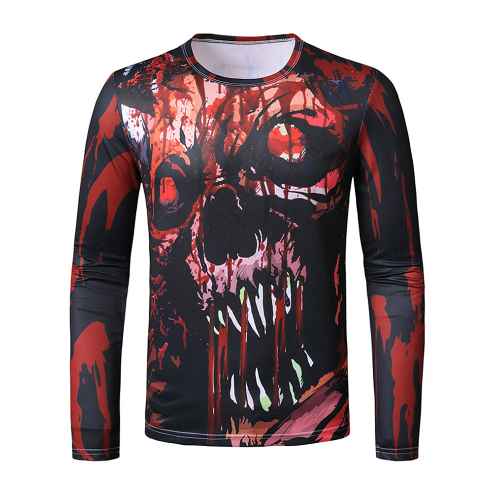 Men Long Sleeve T-shirt Long Sleeved Round Neck Shirt 3d Digital Printing Halloween Series Horror Theme Shirt Red _M
