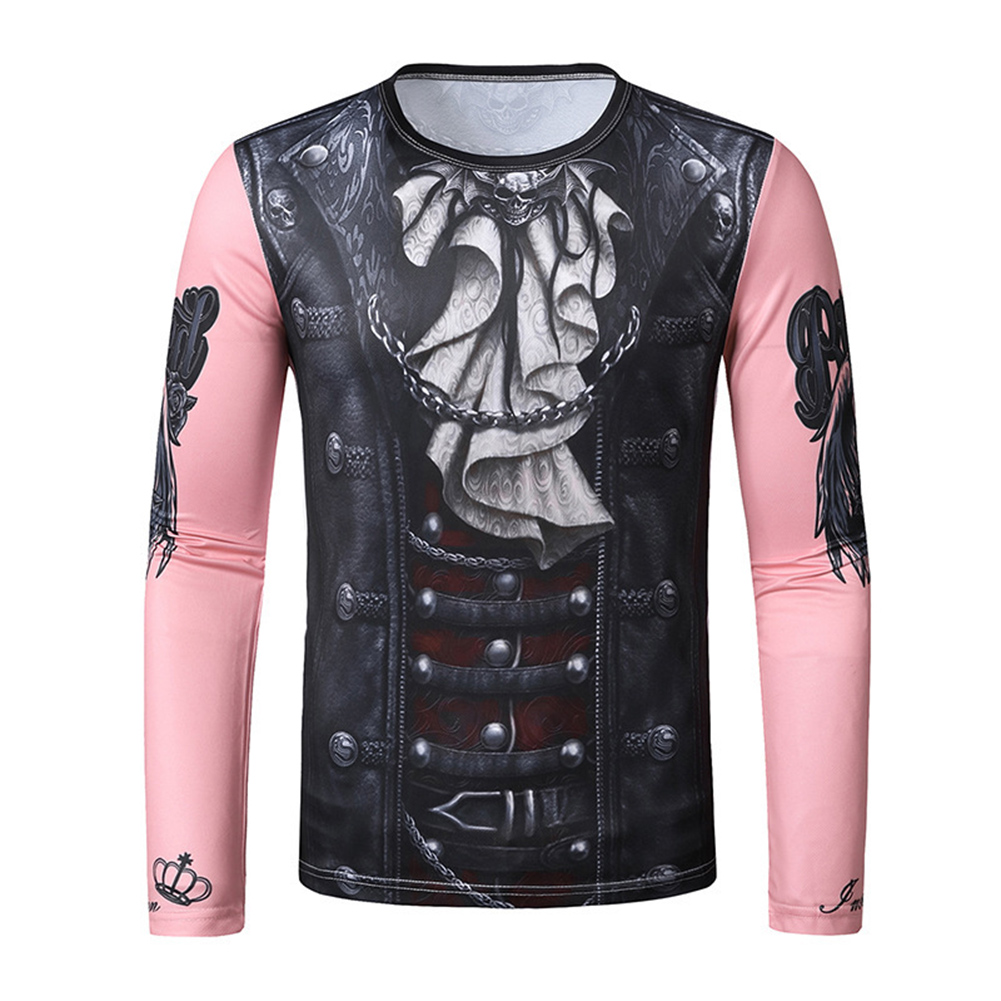 Men 3D T Shirt Long Sleeve Halloween Funny Digital Print Round Neck T-shirt Pink T10_S