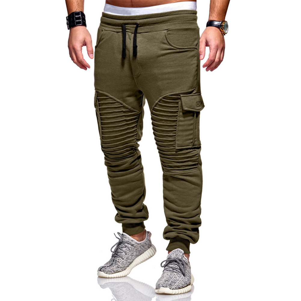 Men Twill Jogger Elastic Trousers Slim Fit