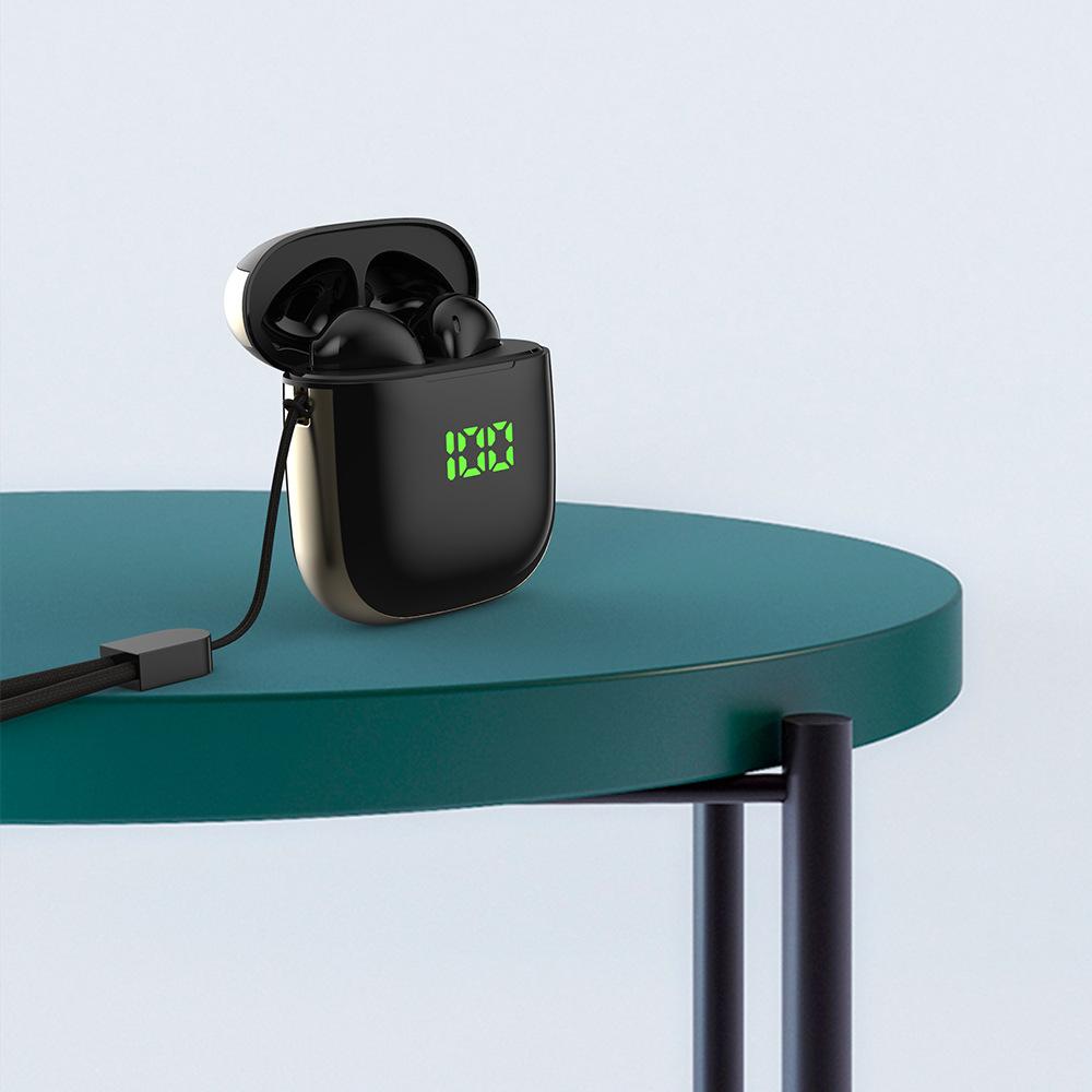TWS WK60 Wireless Bluetooth Earphone Waterproof Earbuds Sports Headset LED Display Headphones Black+Gold