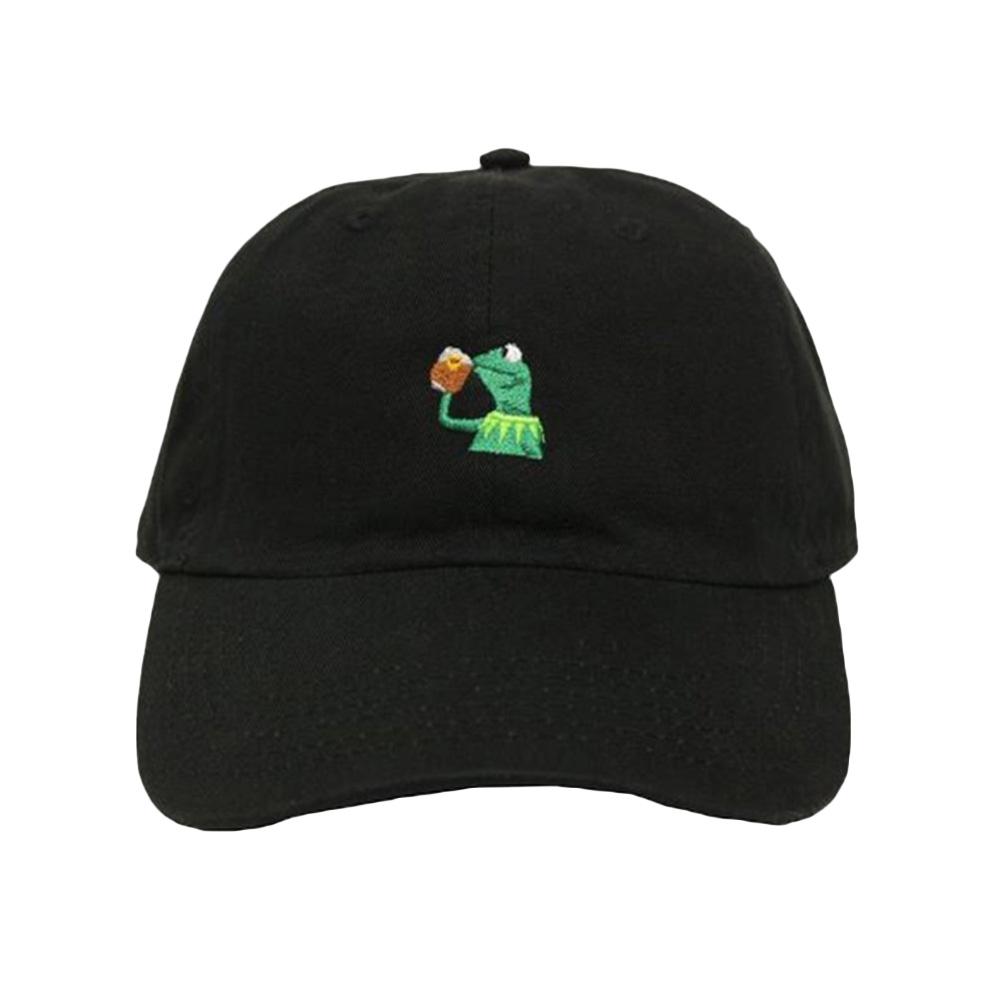 [EU Direct] Unisex European Fashion Cotton Embroidery Frog Cartoon Plain Baseball Cap Snapback Hat
