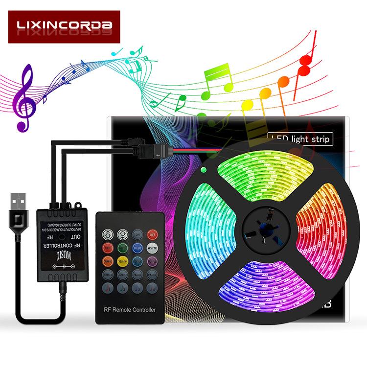 LED Strip Tape Light Waterproof USB Music Voice Control 5V 20Keys Remote Conntrol TV Backlight 5050RGB 5050RGB Epoxy 5m 150 Lamp Color Box Packaging