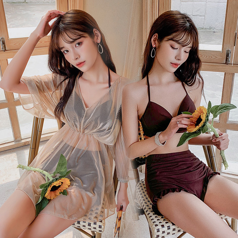 3 Pcs/set Women Swimsuit Split Solid Color Conservative Top+ Shorts + Overall Pink coffee_Int:XL