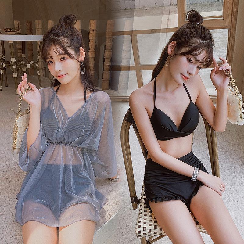 3 Pcs/set Women Swimsuit Split Solid Color Conservative Top+ Shorts + Overall dark grey_Int:L