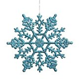 [EU Direct] Club Pack of 24 Turquoise Blue Glitter Snowflake Christmas Ornaments 4`
