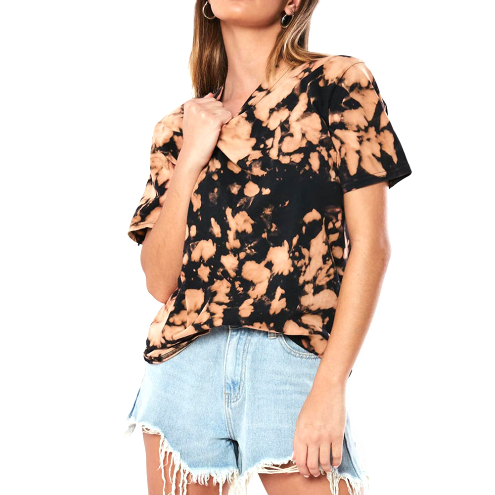 Woman Summer Splash-ink Printed T-shirt Casual Short Sleeve Ladies Fashion Top Blouse Khaki_L
