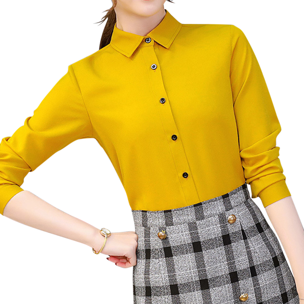 Women Slim Fit Fashionable Solid Color All Matching Shirt