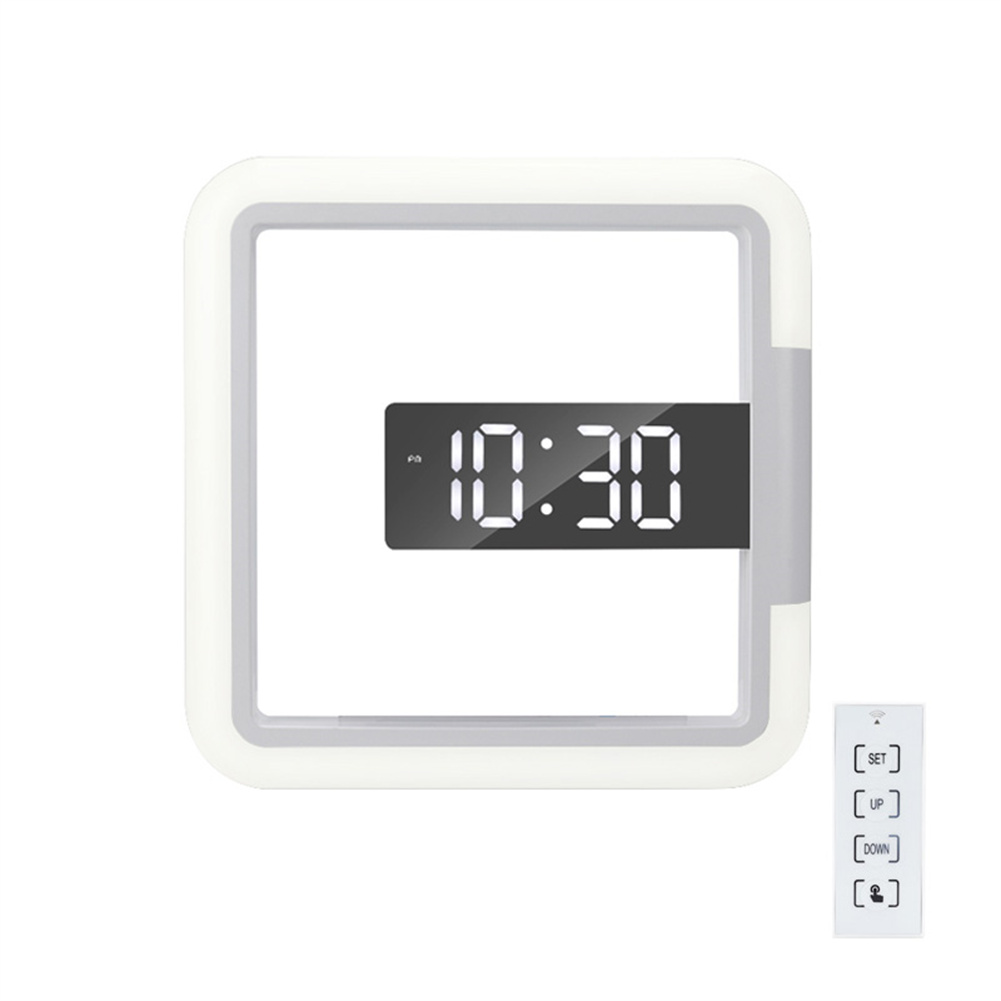 1 Set Square  Rgb  Clock Multifunctional Creative Home Thermometer Digital Alarm Clock Led Mirror Hollow Wall Clock White