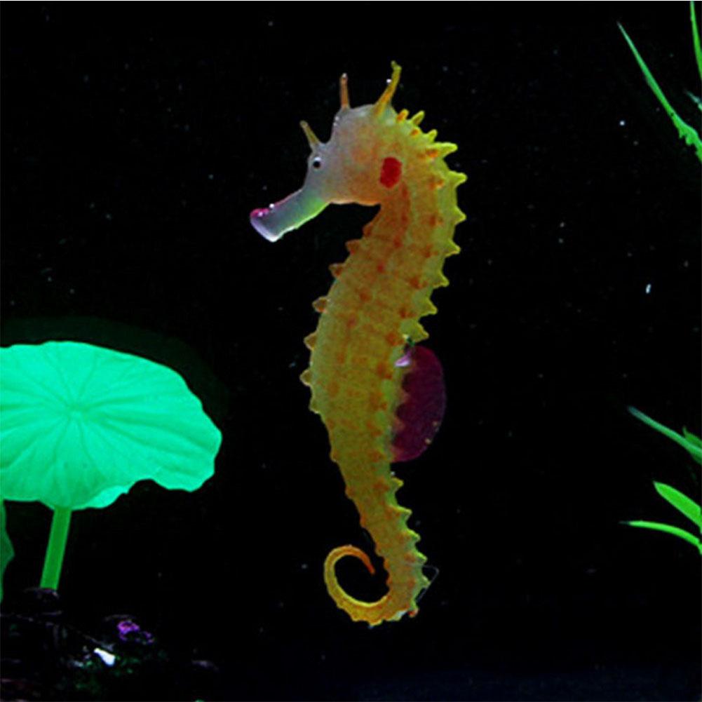 Simulate Silicone See Horse Landscape with Fluorescent & Luminous Effect Ornament for Aquarium Fish Tank Decoration  Orange
