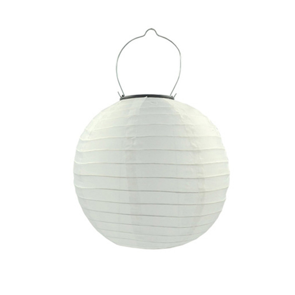12 Inch/30CM Solar-Powered Lantern Light Pretty Outdoor Hanging Lamp Yard Garden Festival Wedding Decoration  12 inch - white