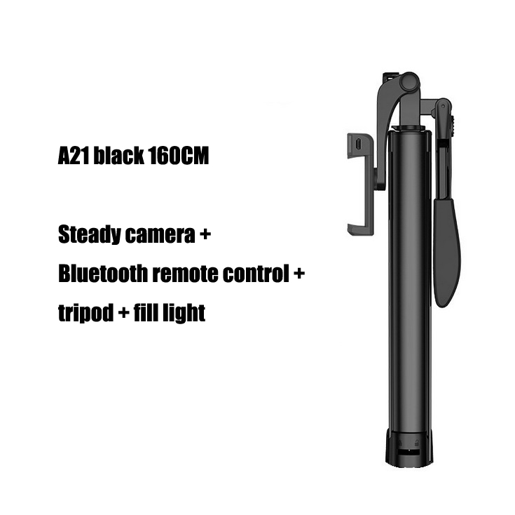 A21 Video Stabilizer Selfie Stick Tripod Bluetooth Tripod Selfie Stick Fill Light for iPhone Xiaomi Huawei Gimbal Mobile Phone Black-160cm