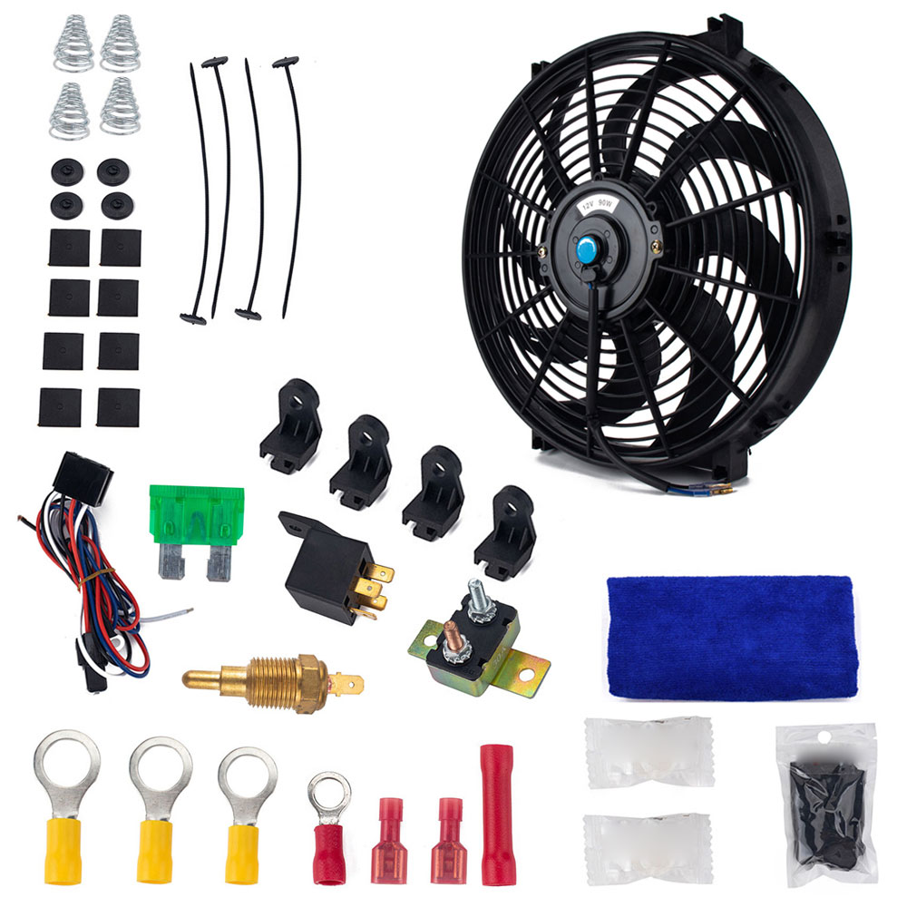 14in Electric Slim Radiator Cooling Fan Assembly 12V Universal Parts with Mounting Kit 14 inch fan + installation accessories