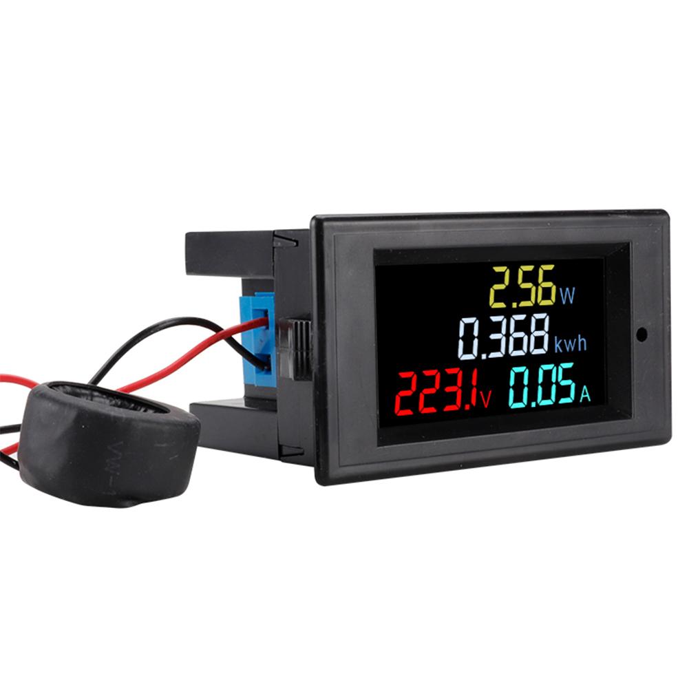 D69-2049 Ac 80-300v Digital  Ammeter  Voltmeter Volt Amp Power Kwh Frequency Factor 100a Ct black