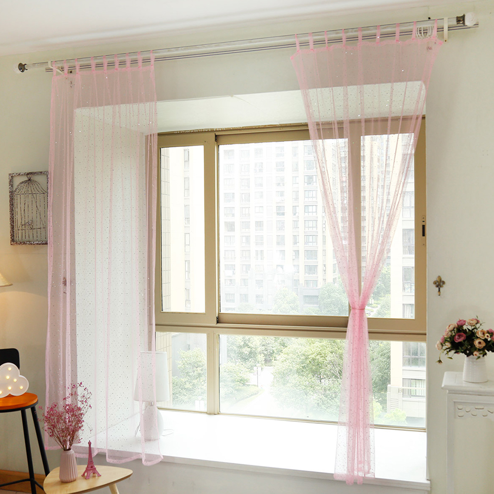 2PCS Stylish Sequins Window Screening Pretty Curtain for Living Room Bedroom Study Kid's Room Decoration Insert A Rod to Install