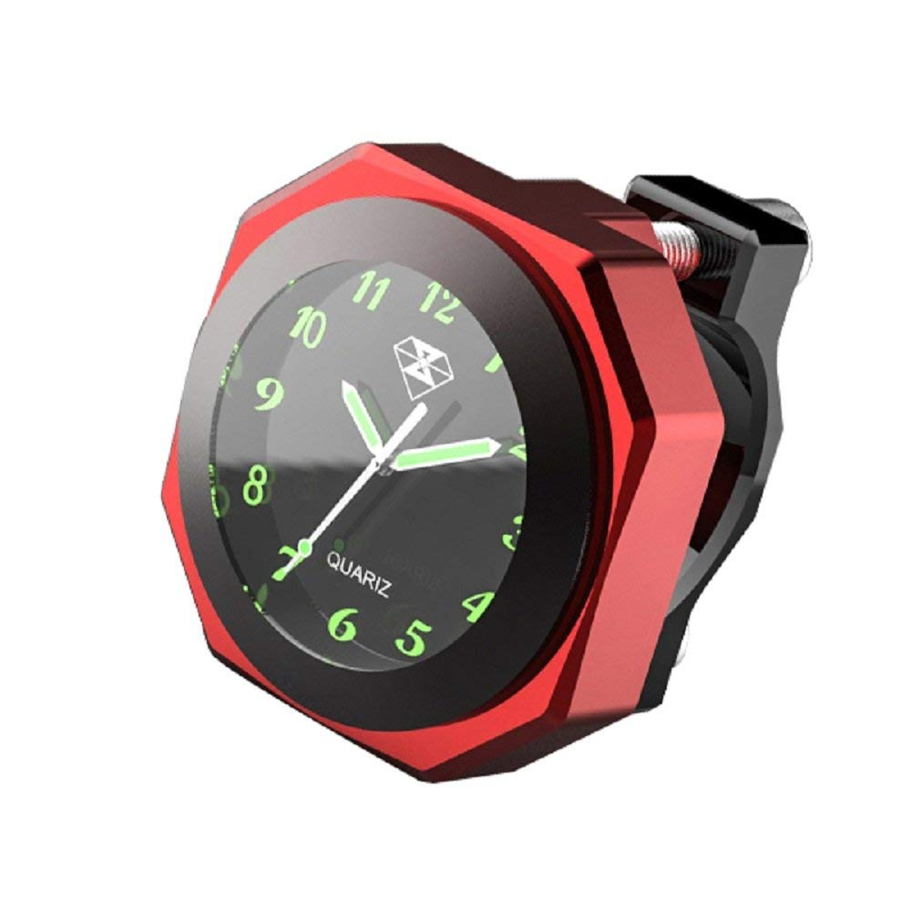 Motorcycle Luminous Alloy Clock Time Gauge Cool Styling Waterproof Clock Decoration red