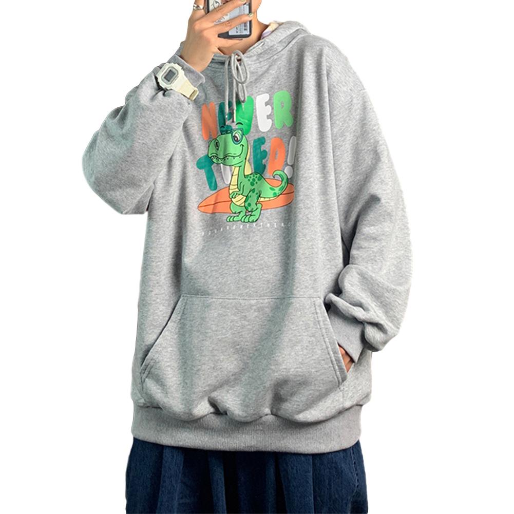 Men's Hoodie Loose Thin Animal Printed Long-sleeve Hooded Sweater Light gray_M