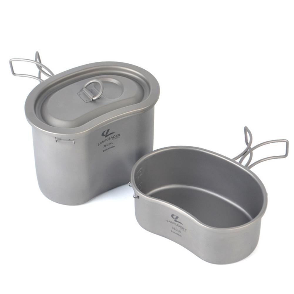 Outdoor Camping Foldable Titanium Lunch Box Instant Noodle Bowl with Cover Tableware Two-piece Set Titanium