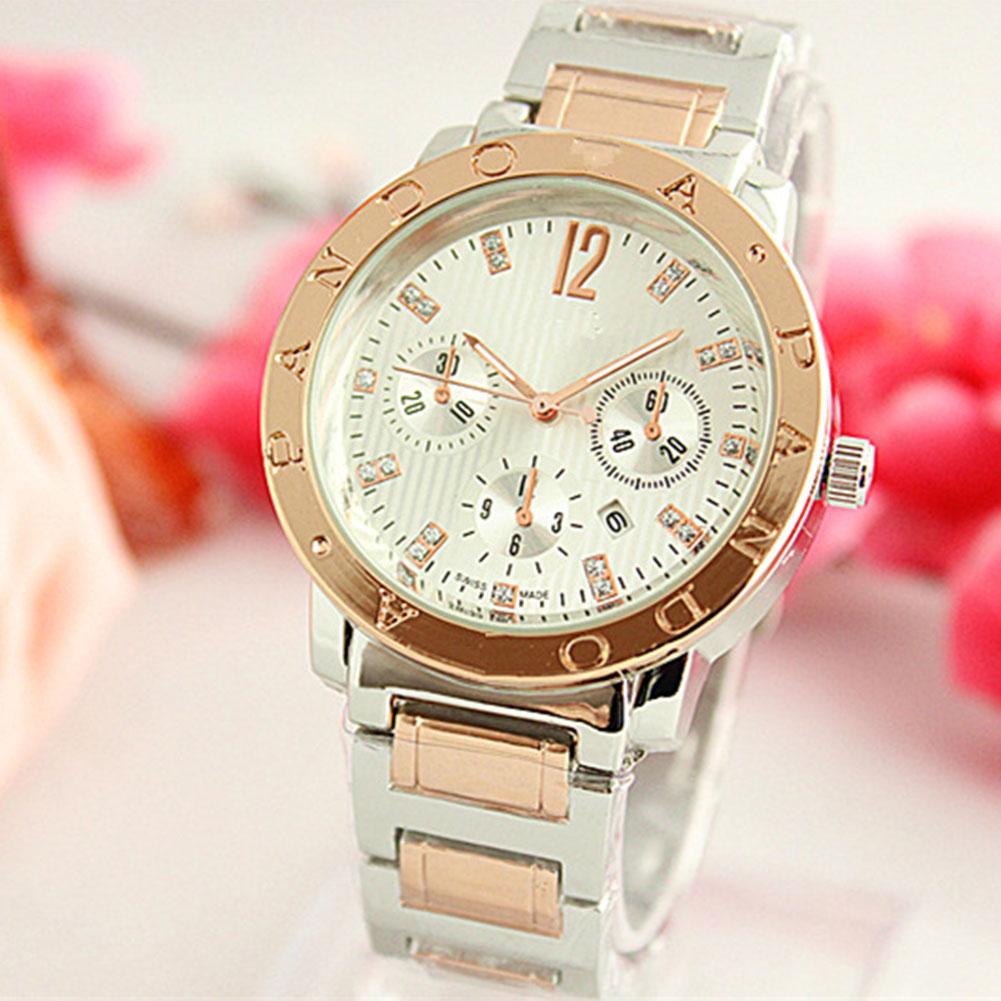 Men Fashion Concise Diamond Watch Round Dial Quartz Alloy Strap Wristwatch with Calendar Function
