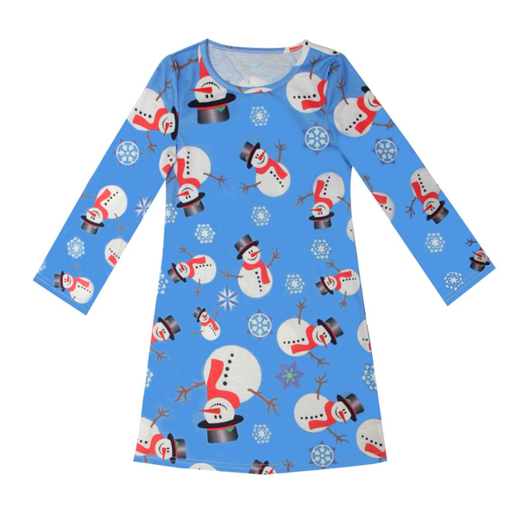 Baby Girls Crew Neck Long Sleeve Christmas Multiple Patterns Painting Skirt Princess Dress for Winter Autumn