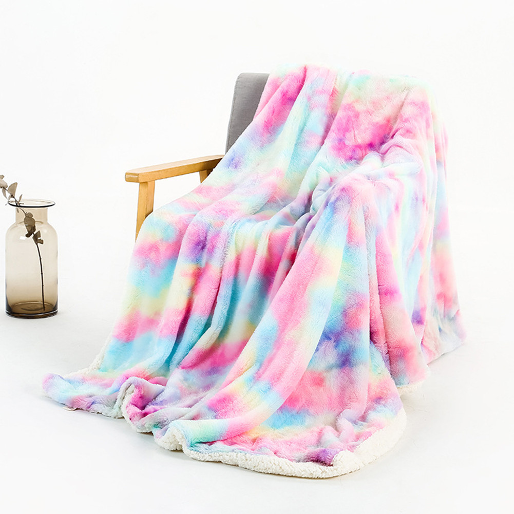 Tie-dye Throw Blanket Long Hair Fuzzy Decorative Blankets for Couch Sofa Bed Sleeping Rainbow colors_160*200cm