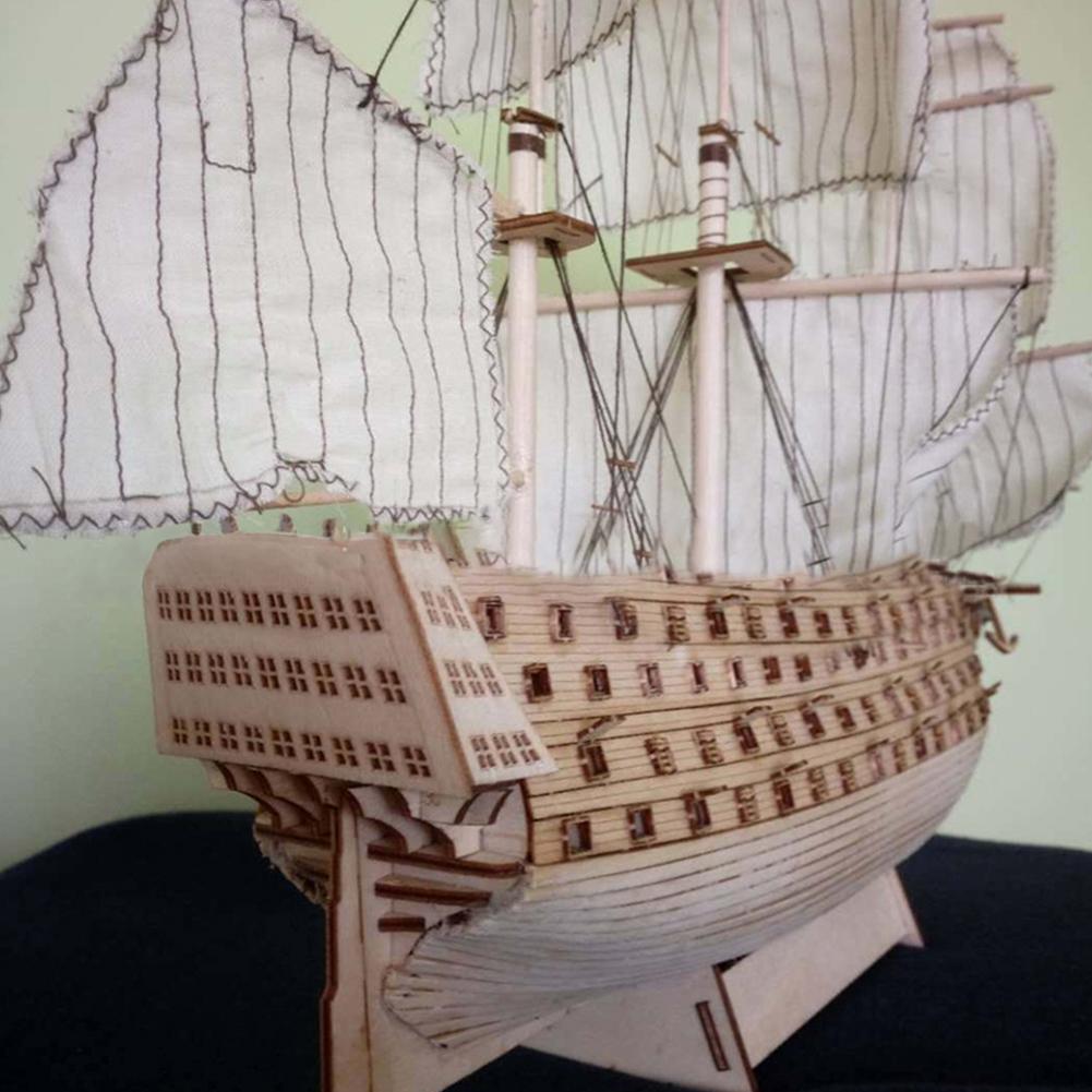DIY Wood Assembled Victory Royal Navy Ship Sailboat Modeling Toy Decoration