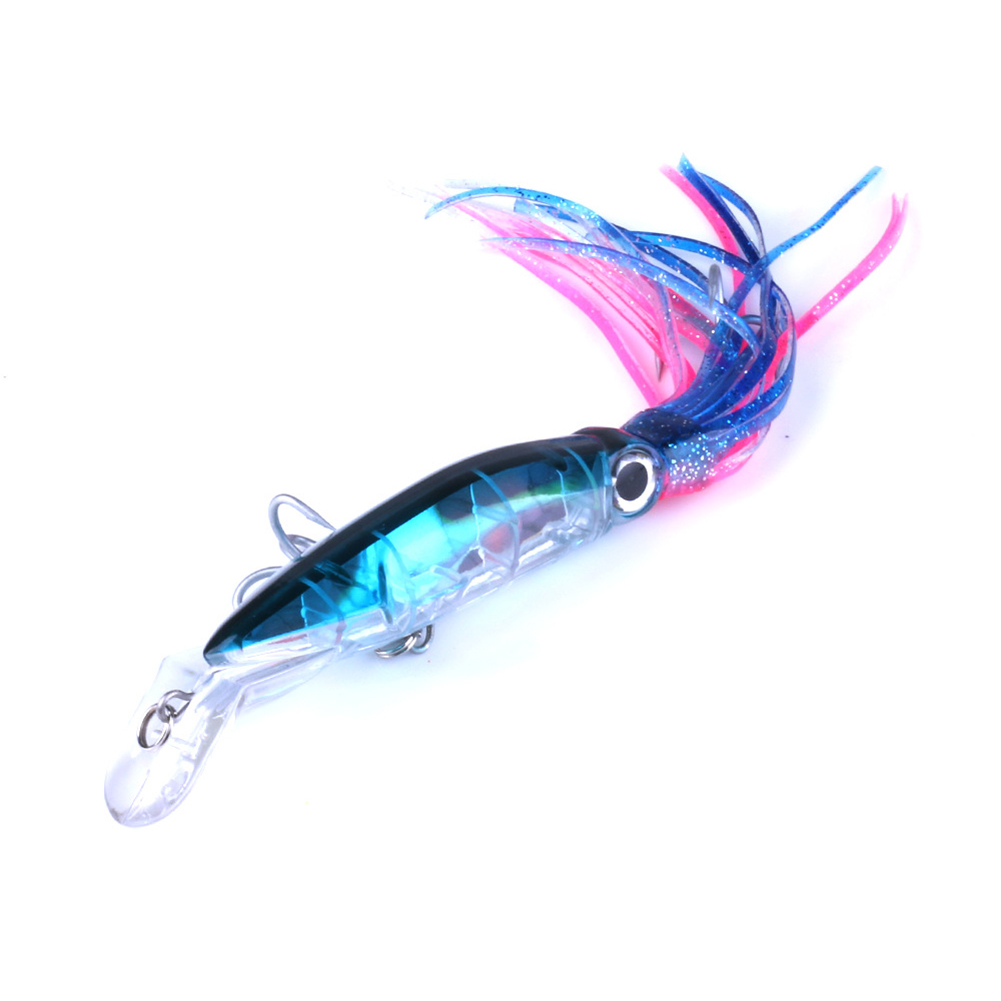 14CM Plastic Squid Tape Crankbait with Tassel Fishing Lures Tackle Fishing Bait 4 #