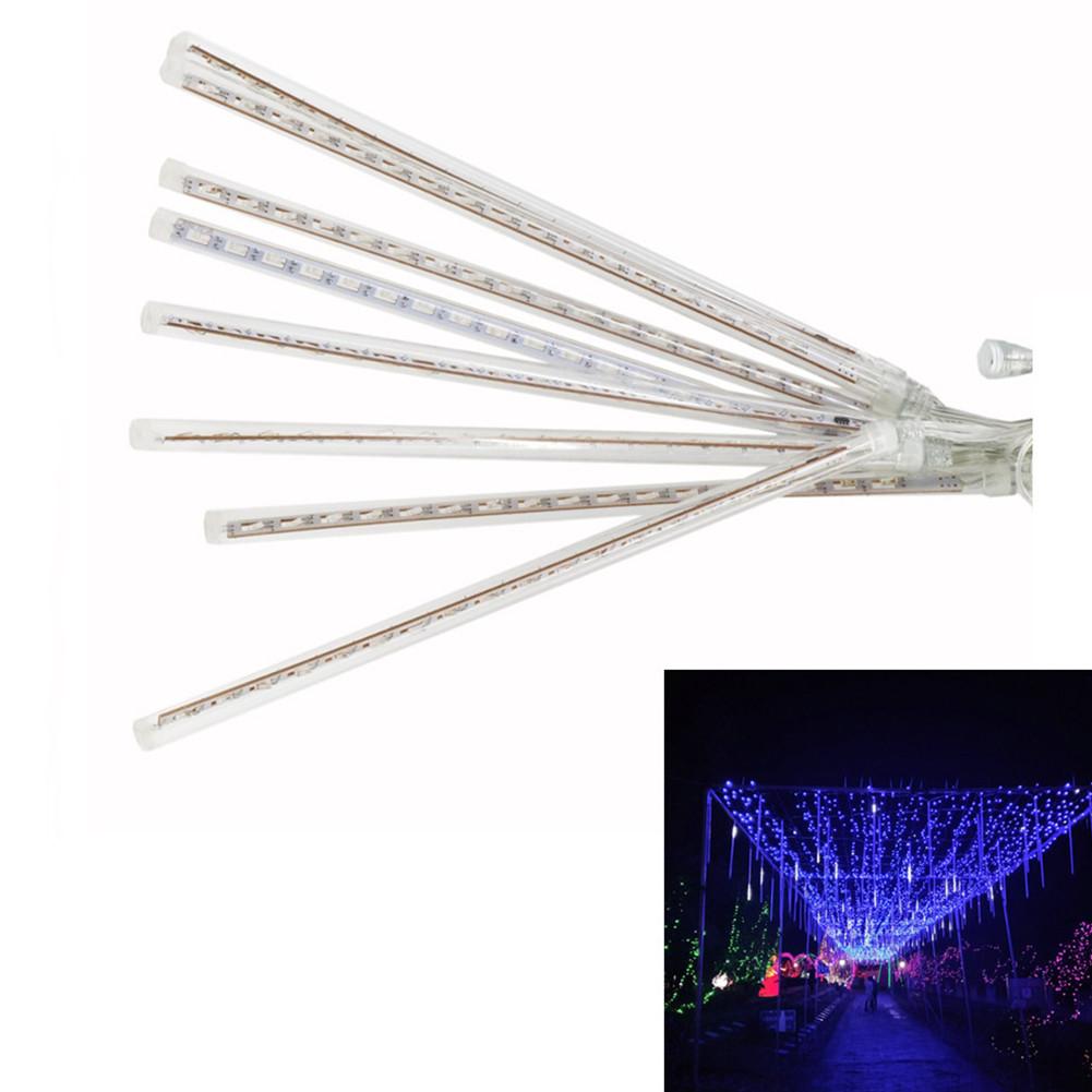 8PCS 30CM US Plug Waterproof LED Meteor Shower Light Decorative Lamp (SMD LED Version) Blue light_US regulations 110-240V