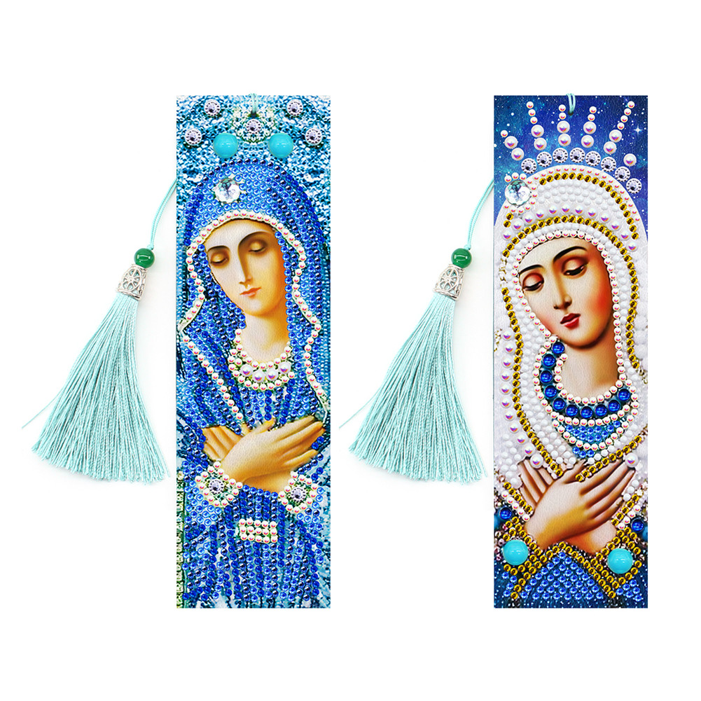 2Pcs 5D DIY Leather Bookmark with Tassel Special Shaped Diamond Painting Embroidery Lady