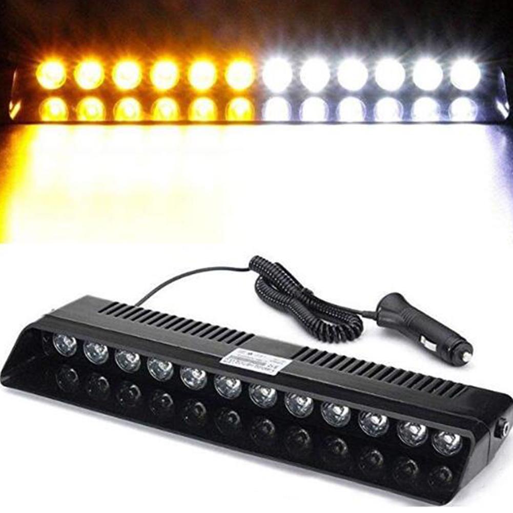Car LED Emergency Strobe Flash Warning Light DC 12V 12 LED 12W Flashing Lights Yellow white