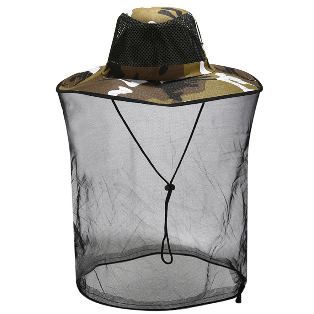Sunscreen Hat With Mesh For Outdoor Activities Anti Mosquito Bee Head  Cover With Net 7#Camouflage_M(56-58cm)