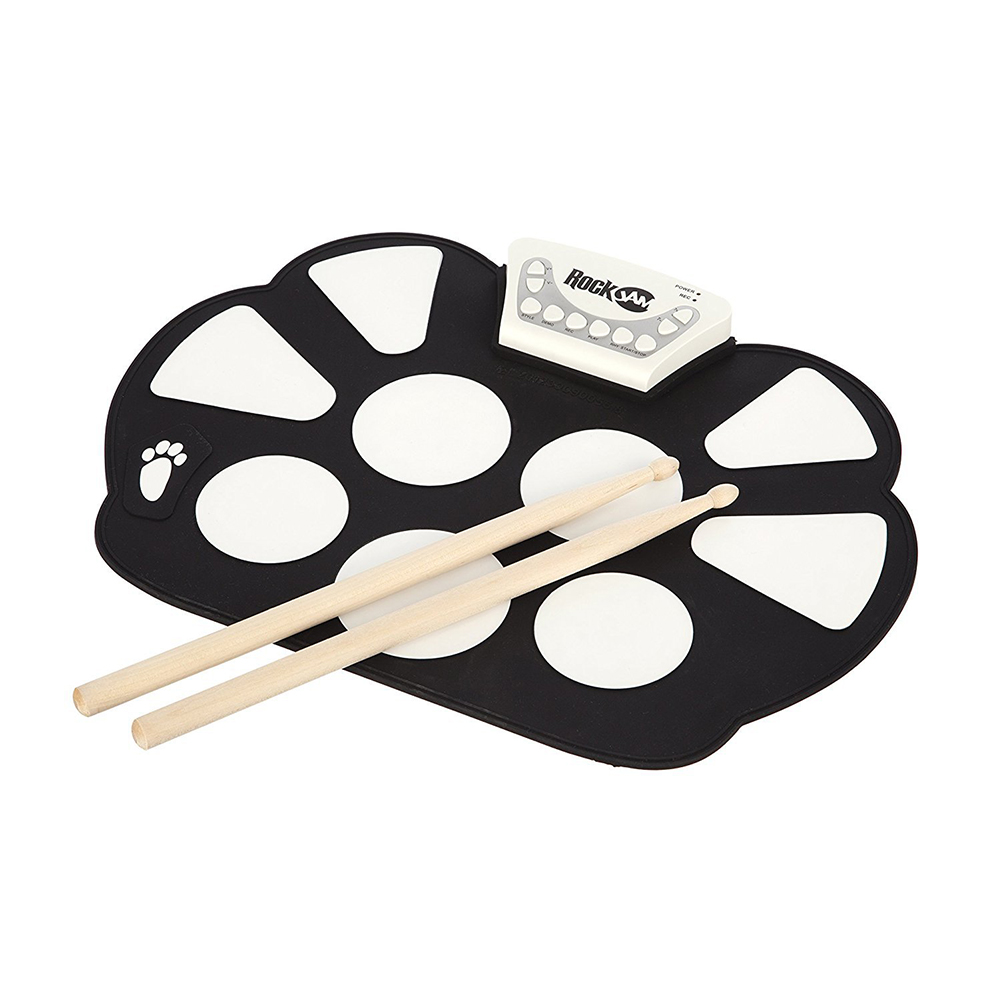 Professional Roll up Drum Pad Kit Silicon Foldable with Drum Stick Portable Electronic Drum USB Drum black