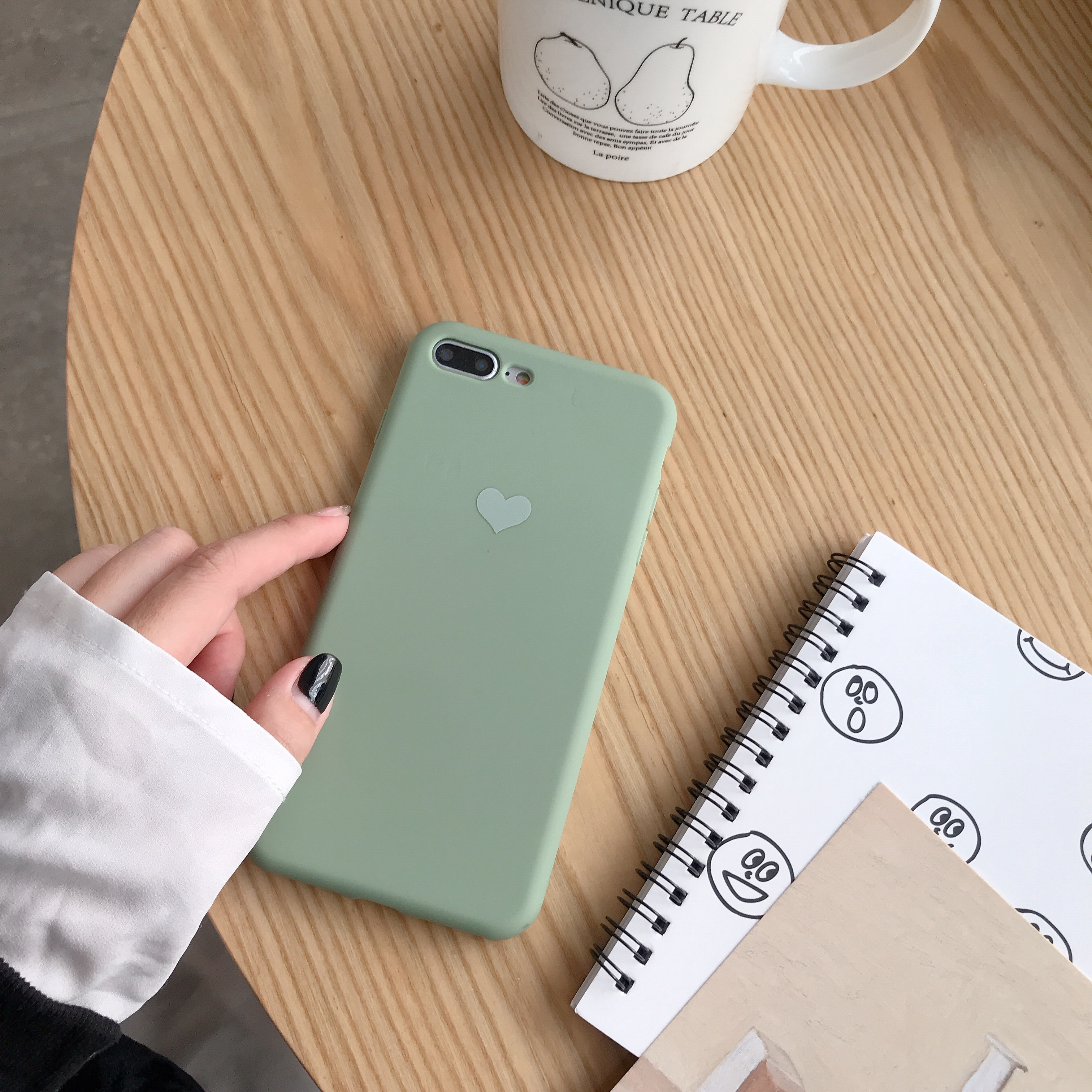 Color Painted Heart-shaped Phone Case for iPhone X/XS,XR, XS max for iPhone Series Candy Color Non-slip Shockproof TPU Full Protective Case  green