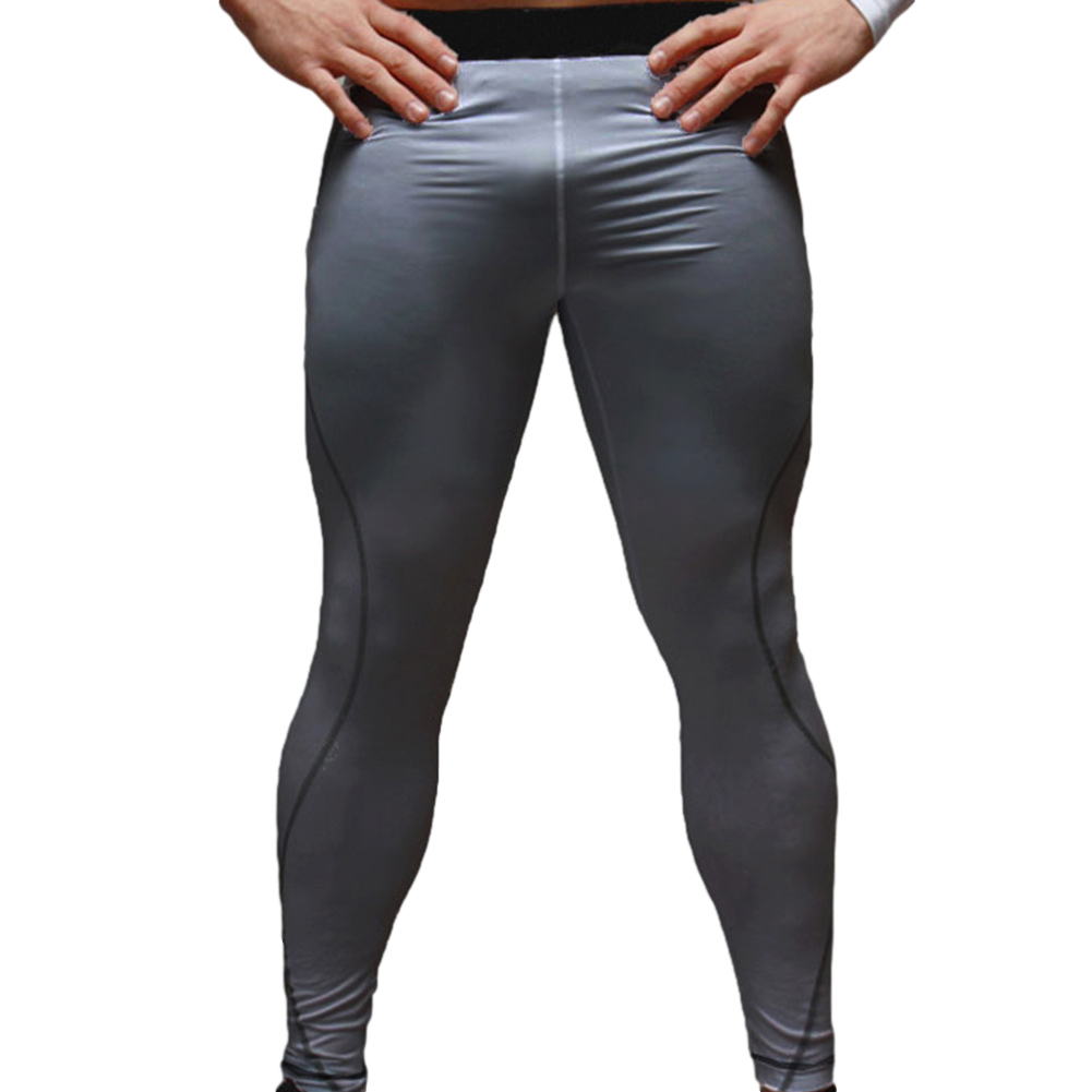 Men's Sports Pants Quick-drying Tight Sweat-wicking Sports Trousers Light gray _M