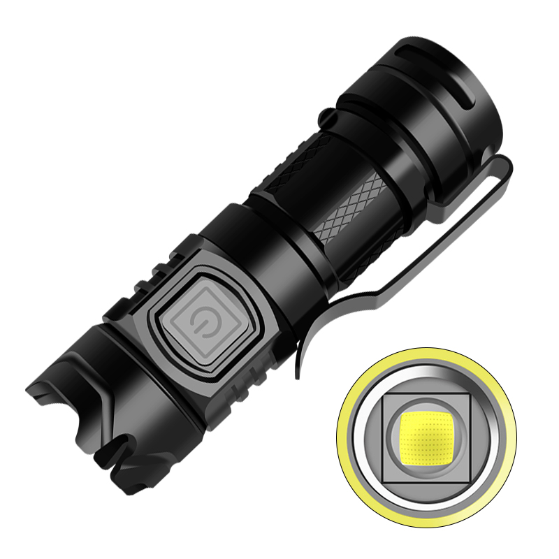 LED Flash Light High Lumens Usb Rechargeable High Brightness Torch for Outdoor black_Model 1924