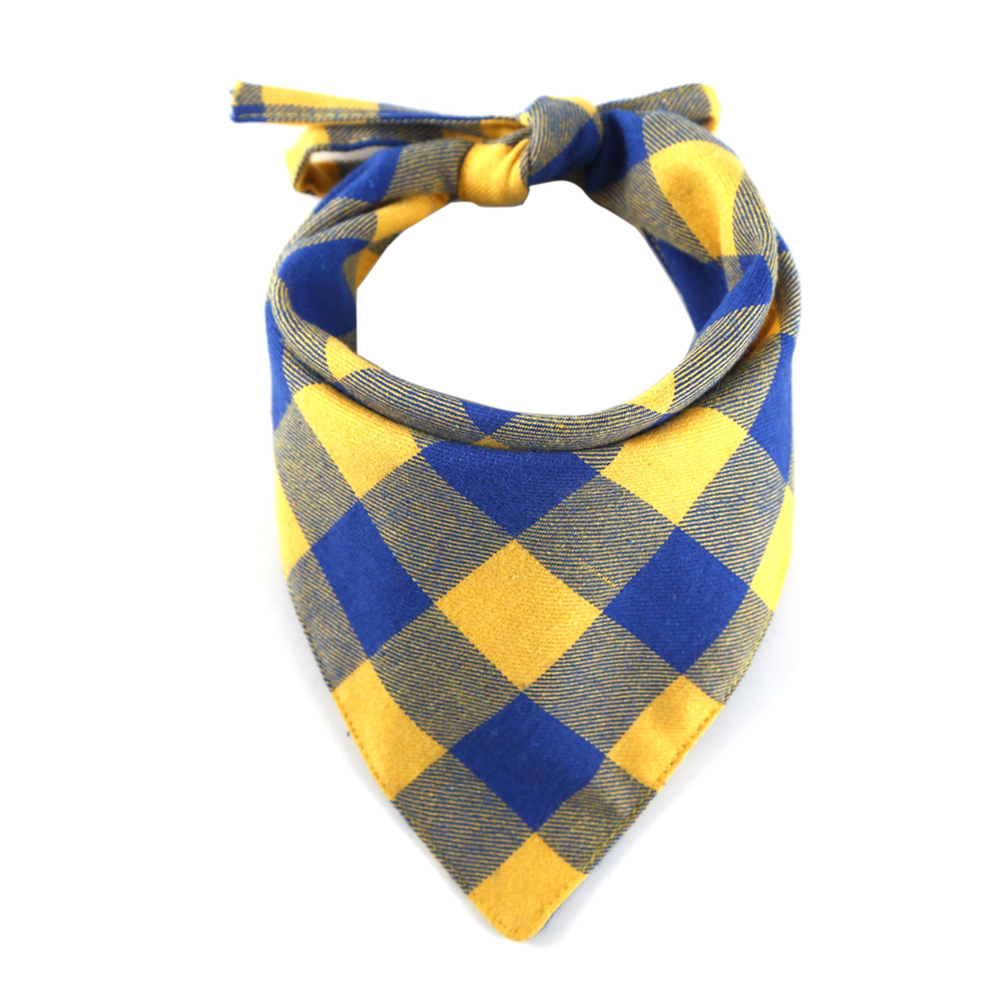 Cotton Plaid Printing Scarf Lacing Saliva Towel for Cat Dog Wear Yellow and blue plaid_33*33*48cm