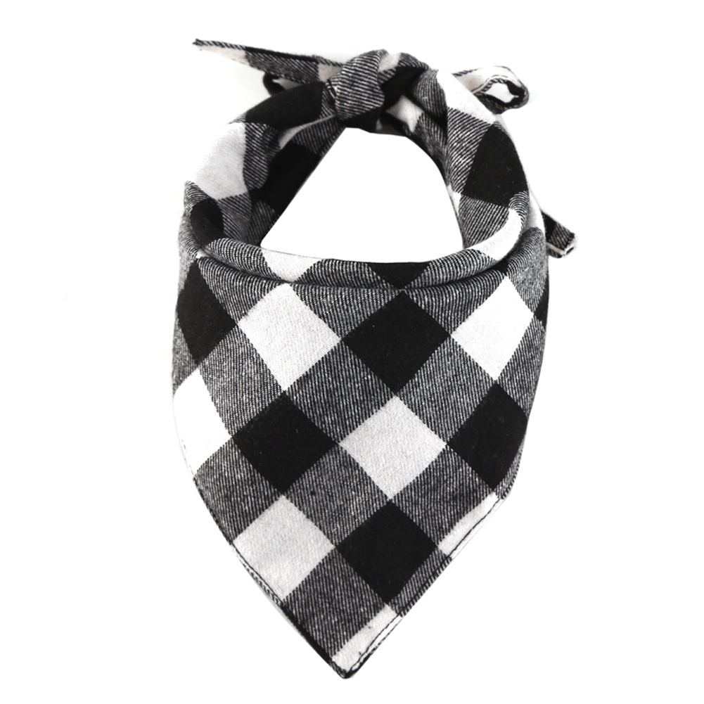 Cotton Plaid Printing Scarf Lacing Saliva Towel for Cat Dog Wear Black and white plaid_33*33*48cm