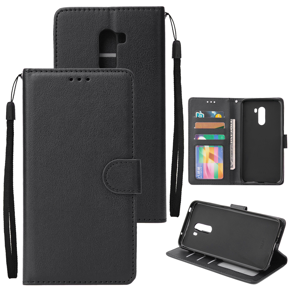 For Xiaomi Pocophone F1 Flip-type Leather Protective Phone Case with 3 Card Position Buckle Design Phone Cover  black