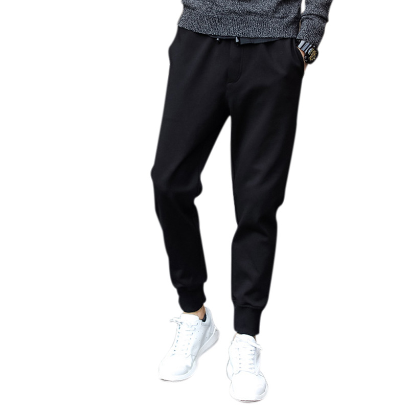 Men Fashion Casual Jogger Pants Elastic Leisure Sports Pencil Pants Trousers with Waist Rope