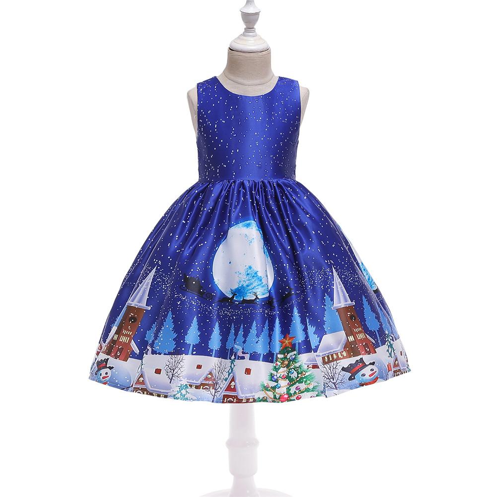 Girls Dress Christmas Short-sleeve Printed Satin Dress for 3-9 Years Old Kids Figure 4_150cm