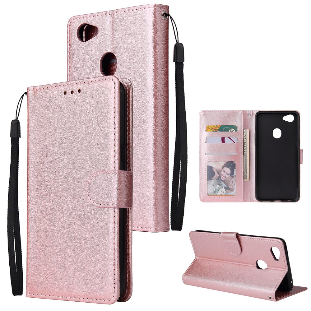 For OPPO F7 Wallet-type PU Leather Protective Phone Case with Buckle & 3 Card Position Rose gold