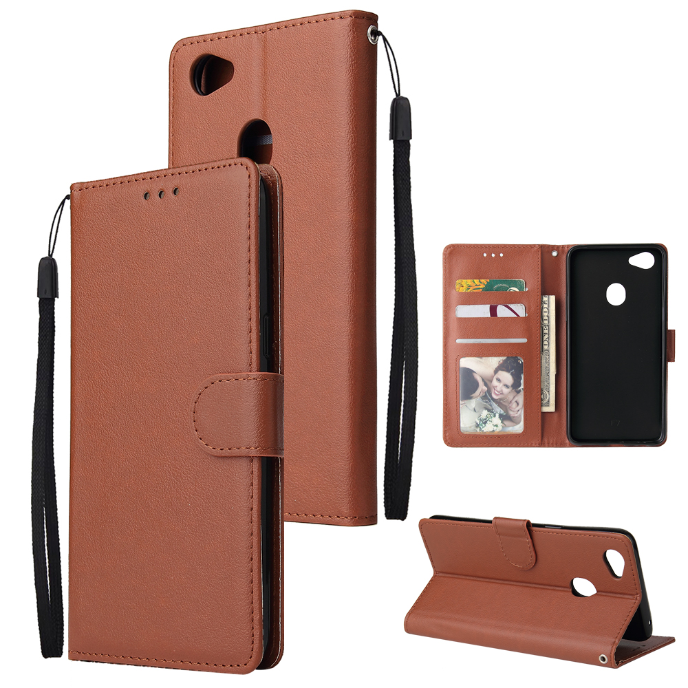 For OPPO F7 Wallet-type PU Leather Protective Phone Case with Buckle & 3 Card Position brown
