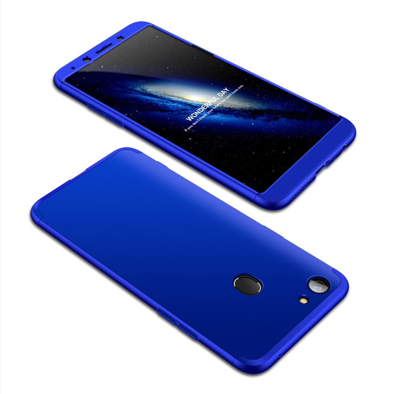For OPPO A73/F5/F5 Youth/A75 Taiwan Slim 3 in 1 Hybrid Hard Case Full Body 360 Degree Protection Back Cover blue