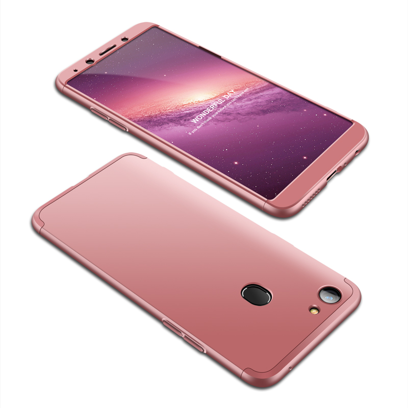 For OPPO A73/F5/F5 Youth/A75 Taiwan Slim 3 in 1 Hybrid Hard Case Full Body 360 Degree Protection Back Cover Rose gold