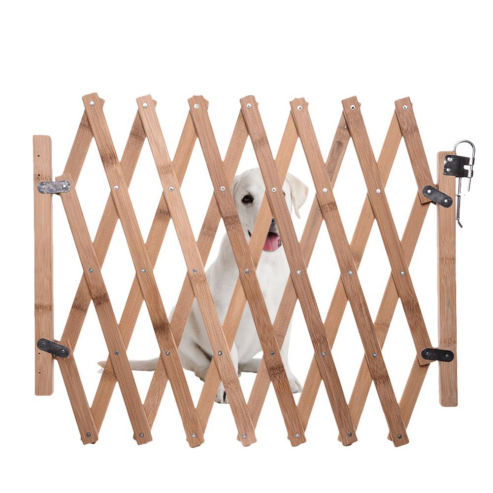 Portable Wooden Fence Folding Pet Isolation Gates Fence with Sliding Pet Supplies Wood color_L-large