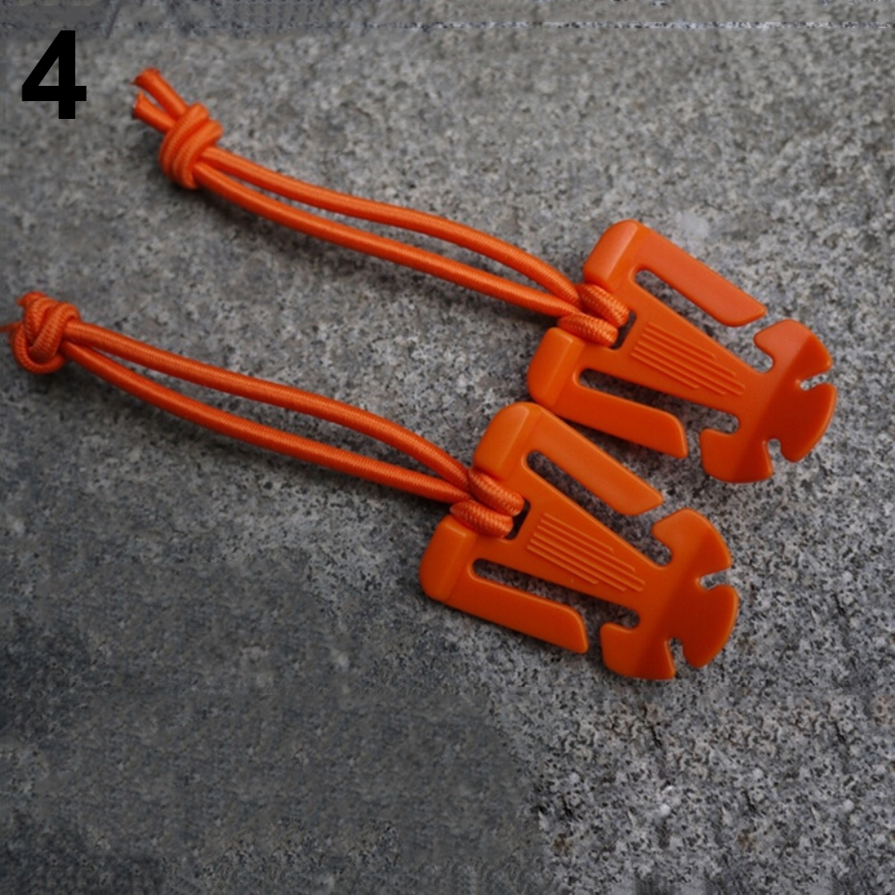 Pair Elastic Rope Hang Buckle 1 inch Webbing Finishing Fixed Buckle Coil Clamp Orange