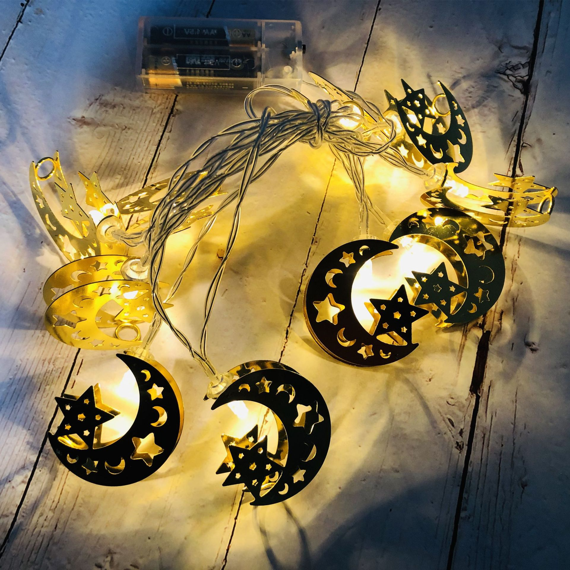 LED Iron Art Light Strings Muslim Ramadan Festival Star Moon Shape Decoration Hang Pendant Warm White