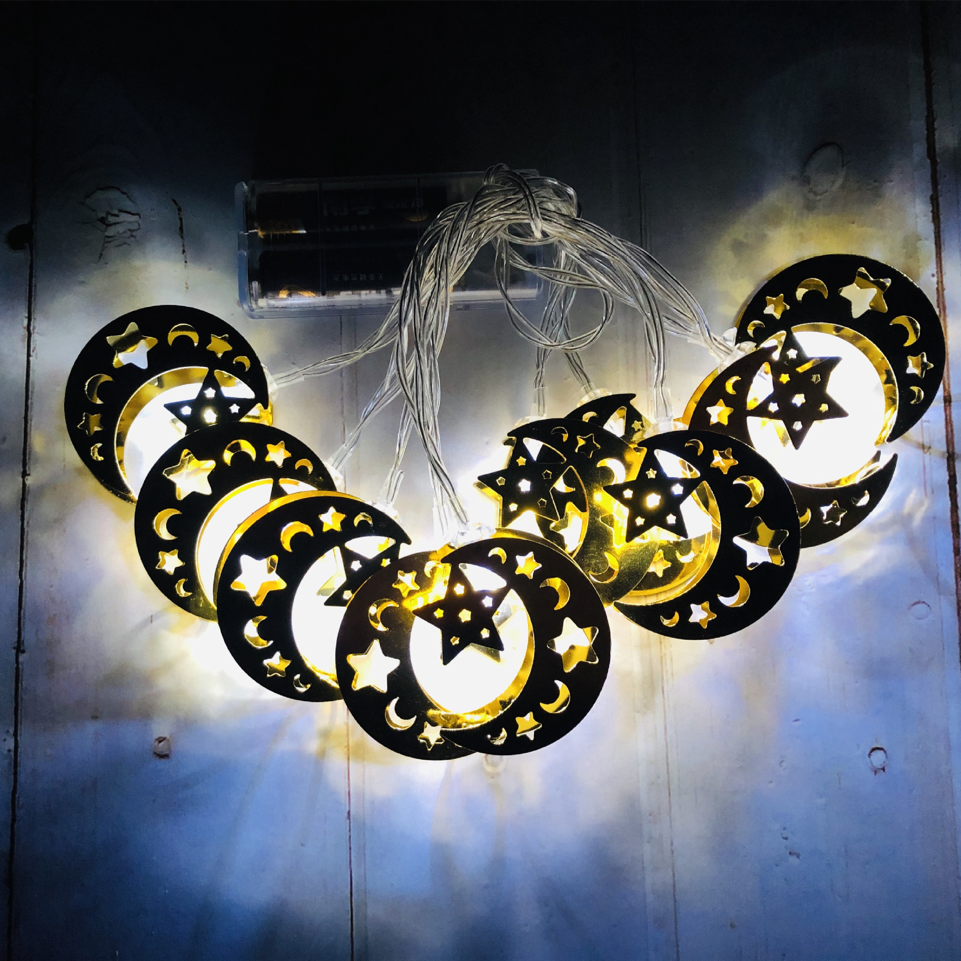 LED Iron Art Light Strings Muslim Ramadan Festival Star Moon Shape Decoration Hang Pendant white